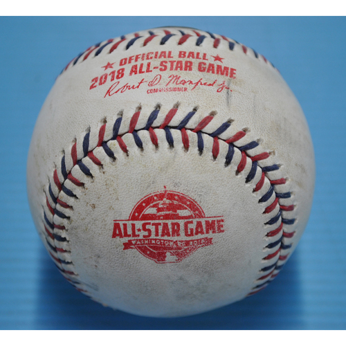 Photo of Game-Used Baseball - 2018 All-Star Game - Pitcher - Jacob deGrom, Batters - Jose Altuve/Mike Trout - Popout to 3rd Base/Foul - Top 3