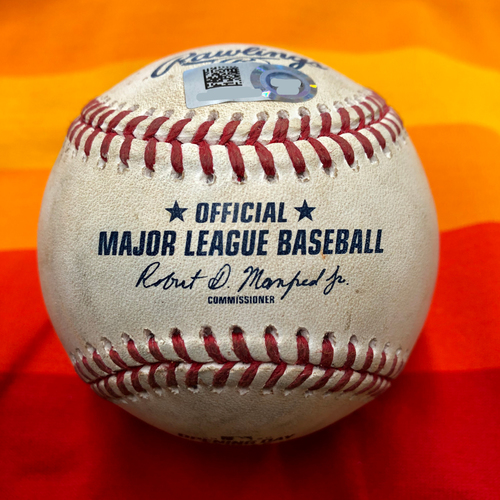 Photo of Opening Day 2020 Game-Used Baseball: Justin Verlander to J.P. Crawford (2 Pitches)