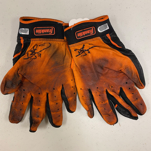 Photo of Autographed Batting Gloves - signed by #7 Donovan Solano - Black & Orange Franklin Batting Gloves
