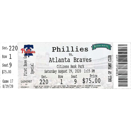 Photo of August 29, 2020 Ticket: Phillies vs. Braves