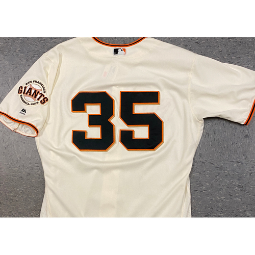 Photo of 2017 Game Used Home Cream Jersey worn by #35 Brandon Crawford on 7/9 vs. MIA, 9/19 vs. COL (Home Run) & 9/20 vs. COL - Size 48