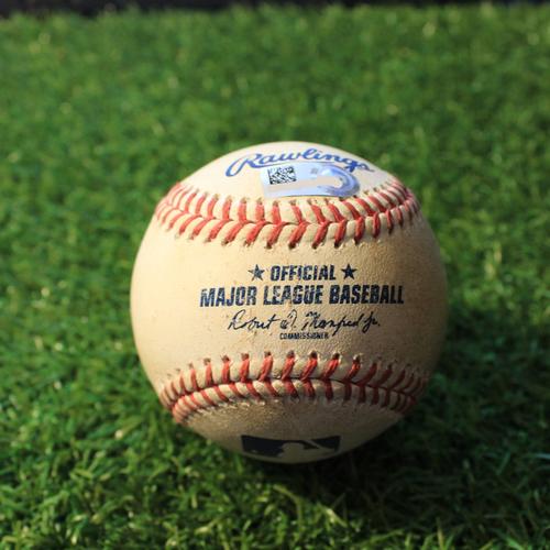Photo of Game-Used Baseball: Isaiah Kiner-Falefa 203rd Career Hit & 66th and 67th Career RBI's (TEX@KC 4/4/21)