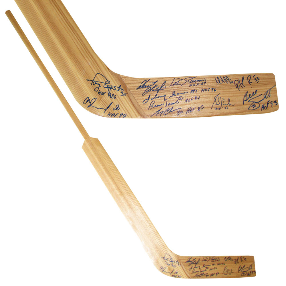 Wood Goalie Stick Autographed by 11 Legendary Netminders - Roy, Brodeur, Hasek & More