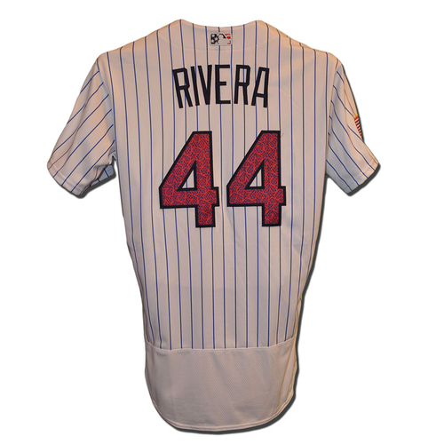 Photo of Rene Rivera #44 - Game Used White Pinstripe 4th of July Jersey - Mets vs. Marlins - 7/4/16
