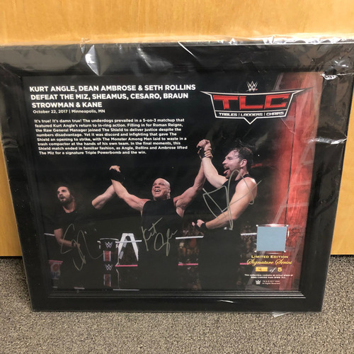 Kurt Angle, Seth Rollins, & Dean Ambrose SIGNED TLC 2017 Signature Series Plaque (#3 of 5)