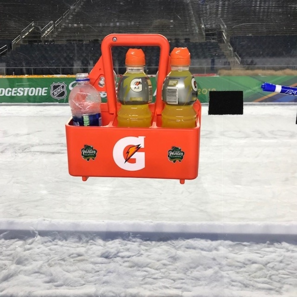 2019 NHL Winter Classic Bench-Used Gatorade Bottle Carrier - Chicago Blackhawks Bench