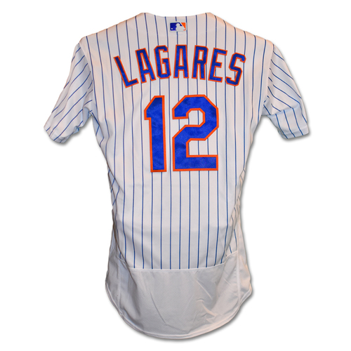 Photo of Juan Lagares #12 - Alonso Breaks Single Season Rookie HR Record - Game-Used White Pinstripe Jersey - Mets vs. Braves - 9/28/19