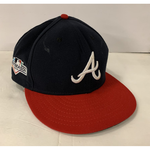 Photo of Nick Markakis Game Used Postseason Cap - Worn 10/3/19 - Size 7 1/8