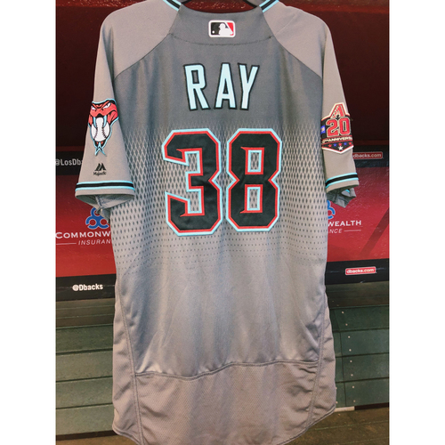 Photo of Robbie Ray 2018 Team-Issued Road Alternate Jersey with 20th Anniversary patch; Size 46