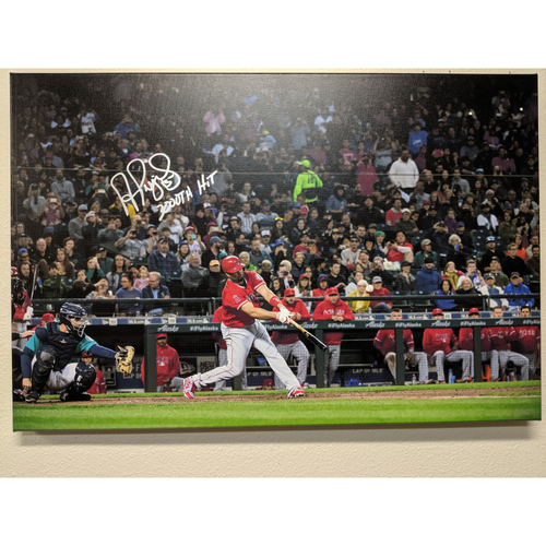 Photo of Albert Pujols Autographed 3000th Hit Photo Canvas