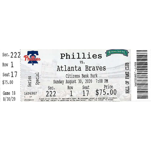 Photo of August 30, 2020 Ticket: Phillies vs. Braves