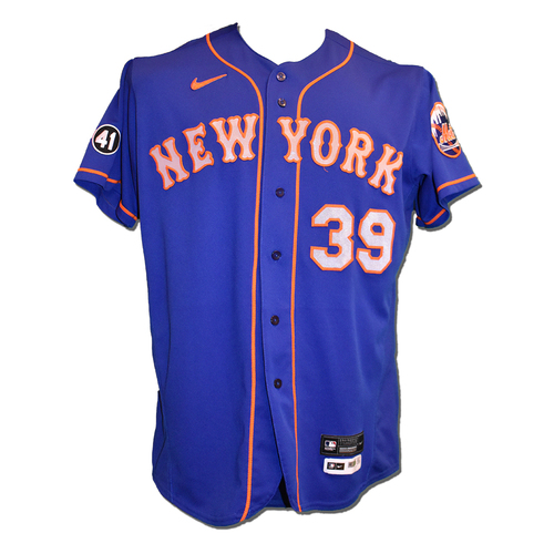 Photo of Edwin Diaz #39 - Team Issued Blue Alt. Road Jersey with Seaver Patch - 2020 Season