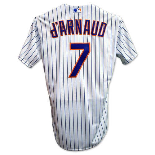 Photo of Travis d'Arnaud #7 - Team Issued White Pinstripe Jersey - 2015 Postseason
