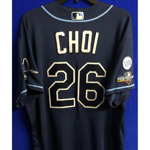 Photo of Game Used Wild Card and ALDS Navy Jersey: Ji-Man Choi - 3 Games - October 2019 at OAK and HOU