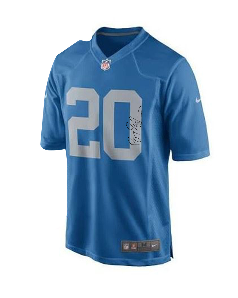 LIONS - BARRY SANDERS SIGNED & PERSONALIZED REPLICA THROWBACK JERSEY