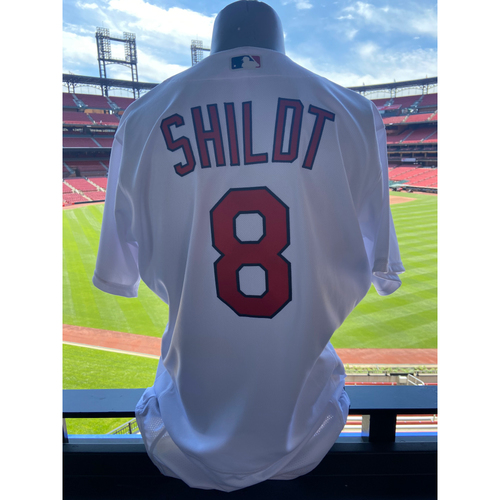 Photo of Cardinals Authentics: Team Issued Mike Shildt Cardenales Batting Practice Home White Jersey