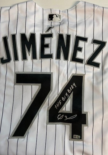 """Photo of Eloy Jimenez Autographed """"The Big Baby"""" Chicago White Sox Nike Home Authentic Jersey"""