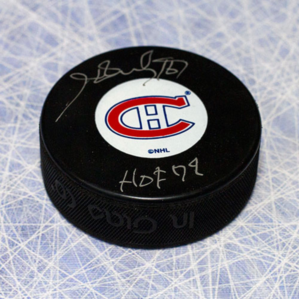 Henri Richard Montreal Canadiens Autographed Hockey Puck with HOF Inscription