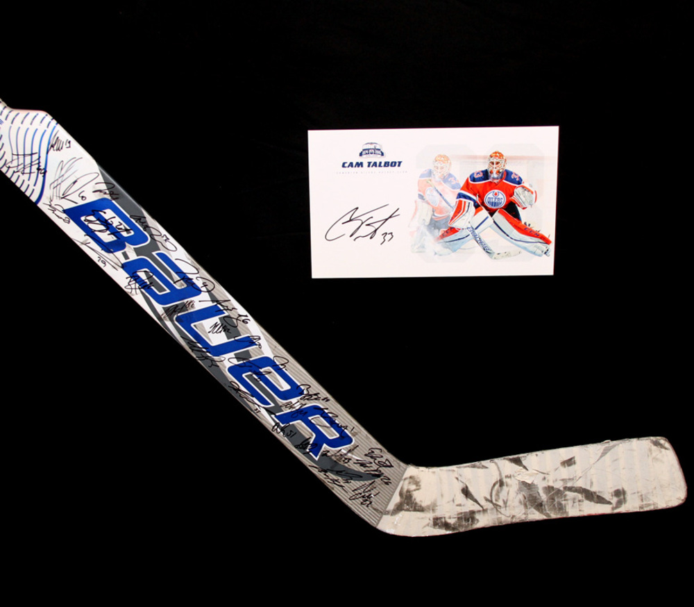 f2c904bfab8 2015-16 Edmonton Oilers Team Signed Cam Talbot Used Bauer Goalie Stick - Includes  Bonus Cam Talbot Autographed Player Card !