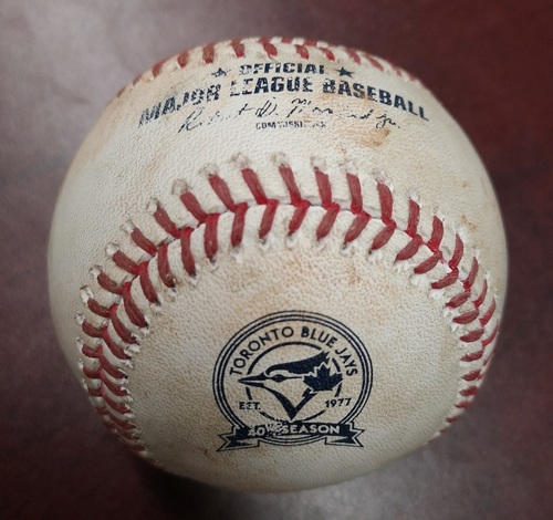 Photo of Authenticated Game Used Baseball - Fielder's Choice by Prince Fielder against Aaron Sanchez (May 4, 2016 vs Texas Rangers). Top 1. Final MLB Season for Fielder.