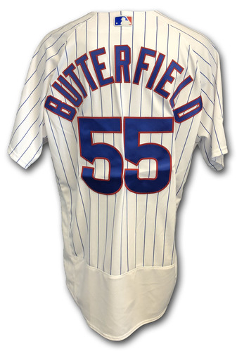 Photo of Brian Butterfield Game-Used Jersey -- Rockies vs. Cubs -- 10/2/18 -- 2018 Postseason Wild Card