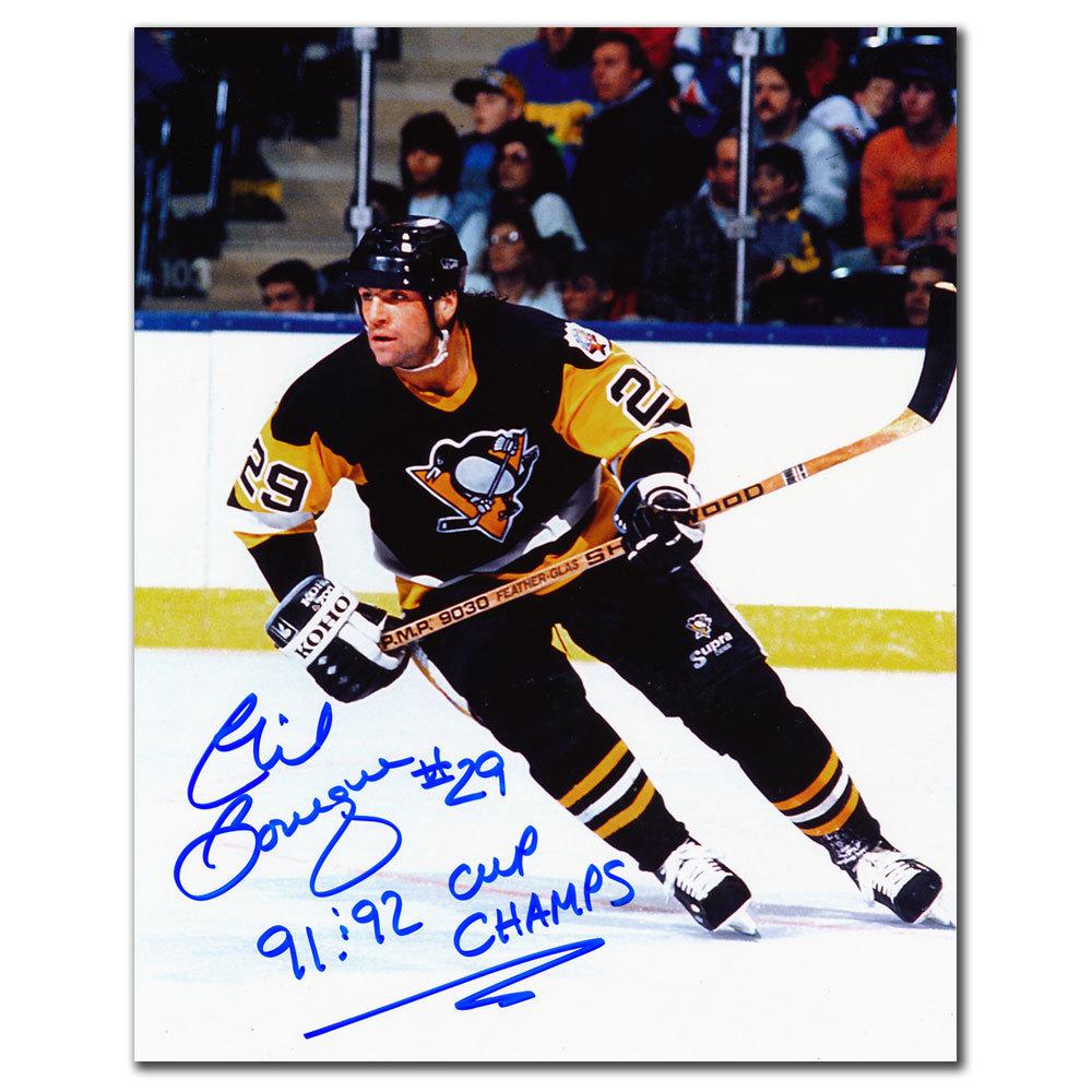 Phil Bourque Pittsburgh Penguins 1991 & 1992 CUPS Autographed 8x10