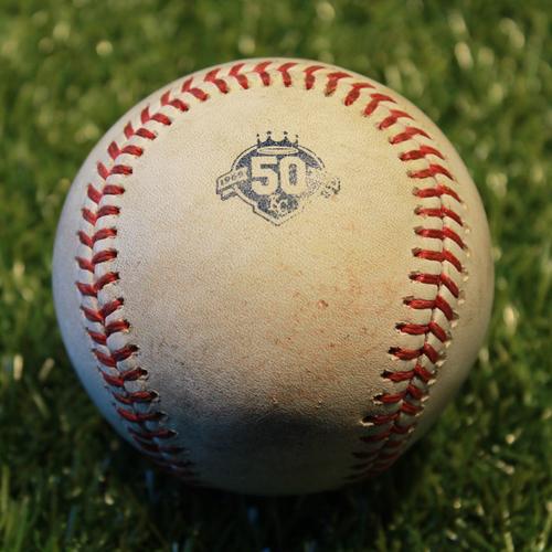 Photo of Game-Used Baseball: Nomar Mazara 352nd Career Hit (6/19/18 - TEX @ KC)