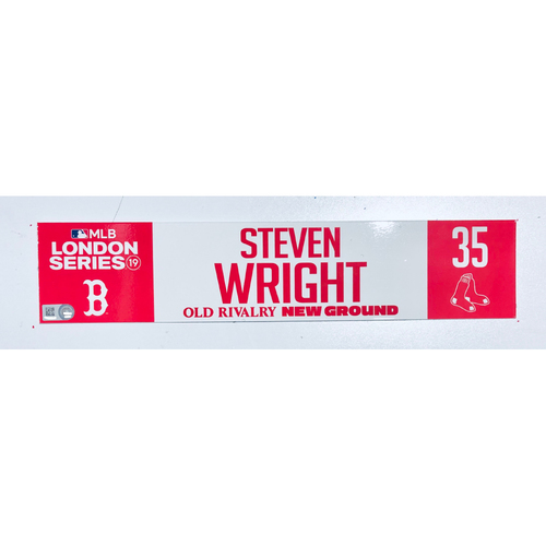 Photo of 2019 London Series - Game Used Locker Tag - Steven Wright, New York Yankees vs Boston Red Sox - 6/30/2019