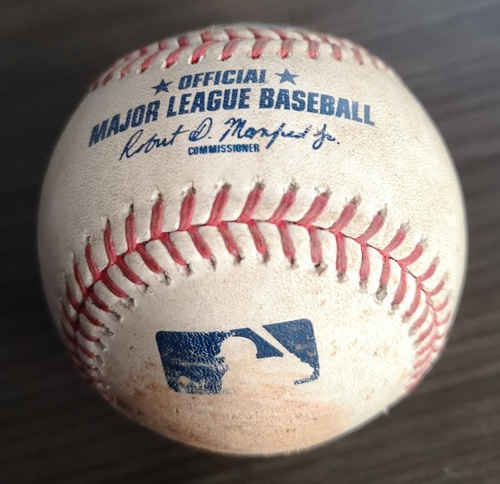 Photo of Authenticated Game Used Baseball: Ball in Dirt by Derek Law against Josh Donaldson (Aug 27, 19 vs ATL). Top 7. Donaldson's 1st Game back in Toronto since being traded.