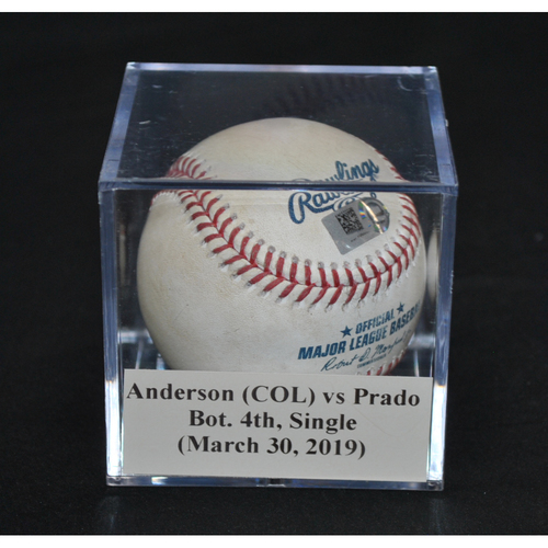 Photo of Game-Used Baseball: Tyler Anderson (COL) vs Martin Prado, Bot. 4th, Single (March 30, 2019)