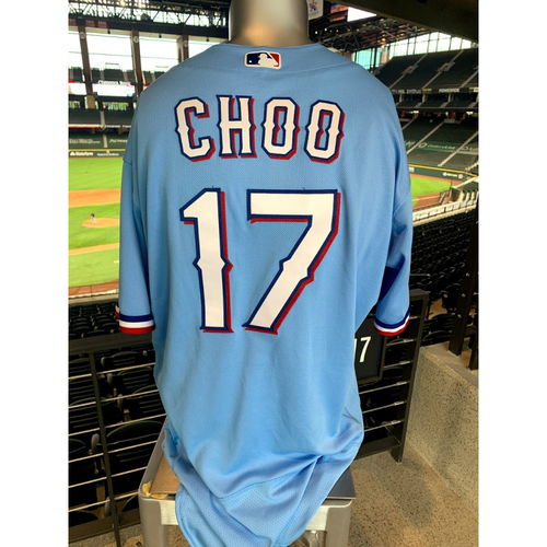 Photo of Shin-Soo Choo Game-Used Powder Blue Jersey - 1st Time Worn (7/26/20)