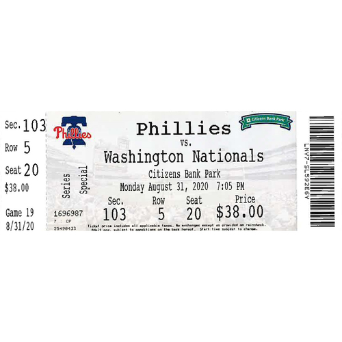 Photo of August 31, 2020 Ticket(Spencer Howard 1st Career Win): Phillies vs. Nationals