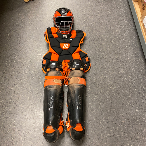 Photo of 2019 Game Used Autographed Catchers Gear worn and signed by #28 Buster Posey on 6/14 vs. MIL