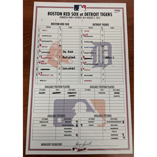 Photo of Red Sox at Tigers August 7, 2015 Game Used Lineup Card - Red Sox Win 7 to 2