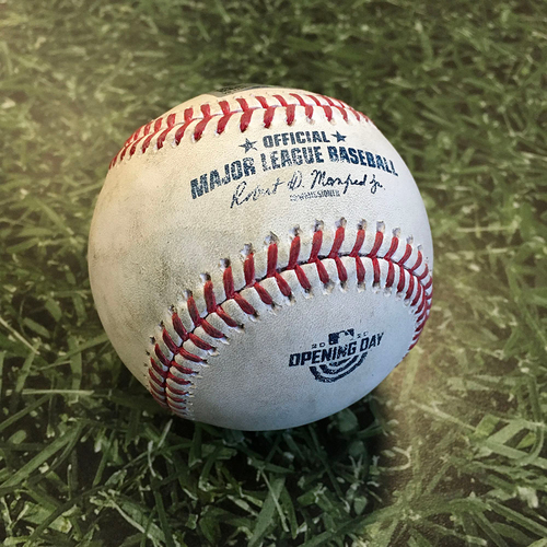 Game-Used Home Opener Baseball CHW@MIL 08/03/20 - David Phelps - Nomar Mazara: Single