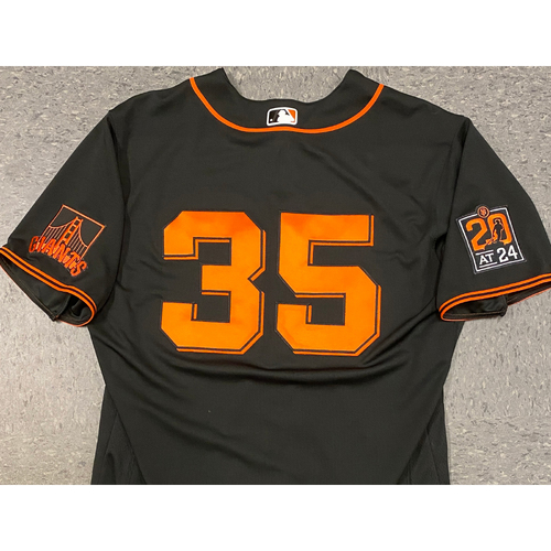 Photo of 2020 Game Used Black Home Alt Jersey worn by #35 Brandon Crawford on 9/26 vs. SD - Size 48