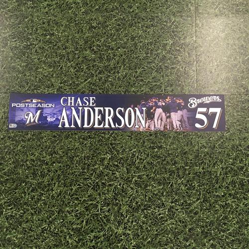 Photo of Chase Anderson 2018 Game-Used Postseason (NLDS) Locker Nameplate