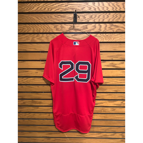 Photo of Bobby Dalbec July 25, 2021 Game Used Home Alternate Jersey