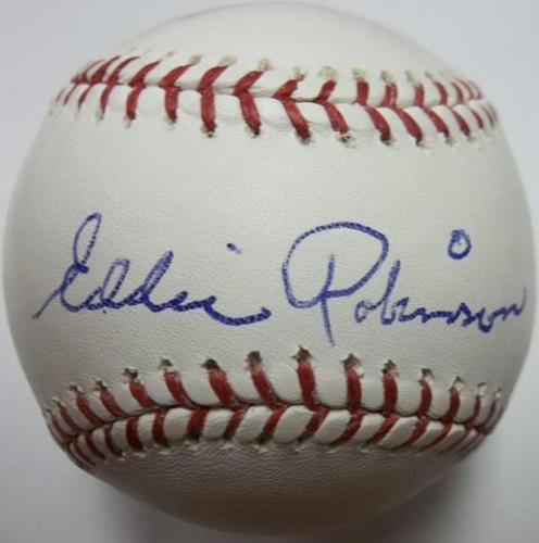 Eddie Robinson Autographed Baseball