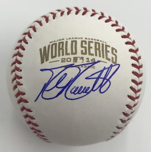 Photo of Mike Moustakas Autographed 2014 World Series Logo Baseball