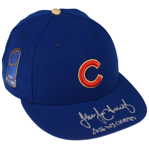 Photo of Jake Arrieta Chicago Cubs Autographed New Era Gold Cap with 2016 WS Champs Inscription