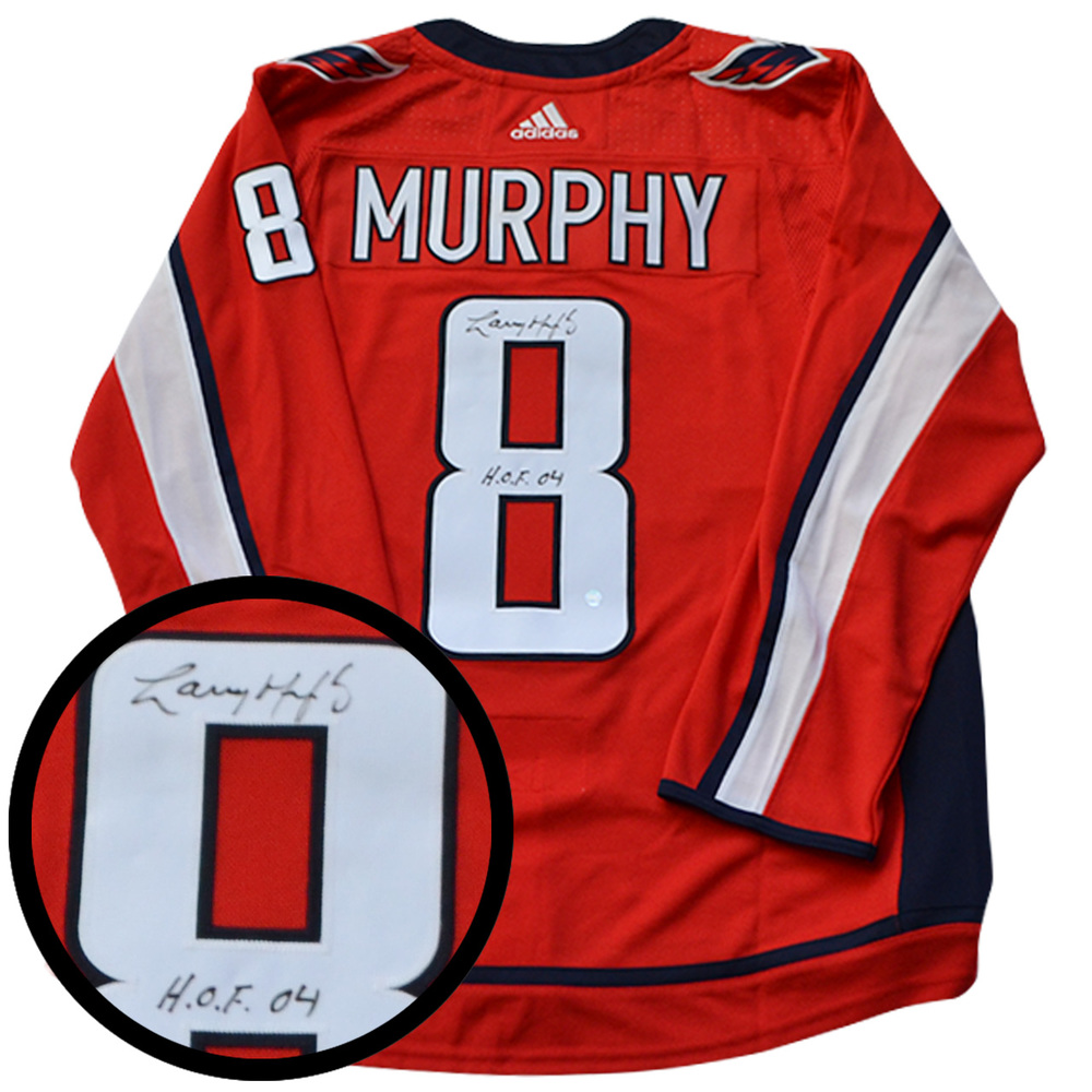 best sneakers ea59b a0918 Larry Murphy Signed Jersey Capitals Pro Red 2017-2019 Adidas ...