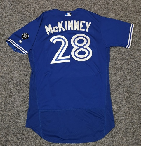 Photo of Authenticated Team Issued Jersey - #28 Billy McKinney (2018 Season). Size 46. Rookie Season.