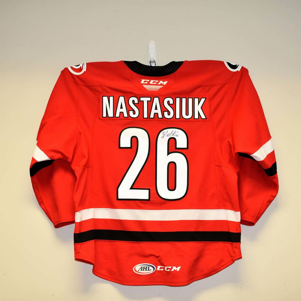 Charlotte Checkers 2019 Calder Cup Finals Game 1 Jersey Worn and Signed by #26 Zach Nastasiuk