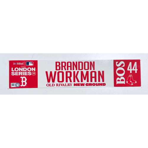 Photo of 2019 London Series - Game Used Locker Tag - Brandon Workman, New York Yankees vs Boston Red Sox - 6/30/2019