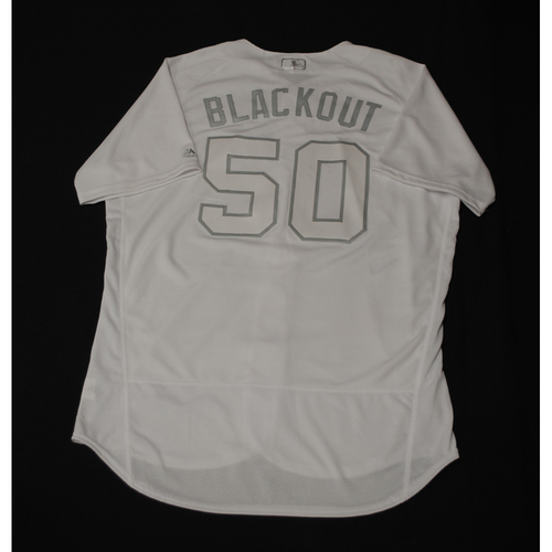 "Photo of Ray ""BLACKOUT"" Black Milwaukee Brewers Game-Used 2019 Players' Weekend Jersey"
