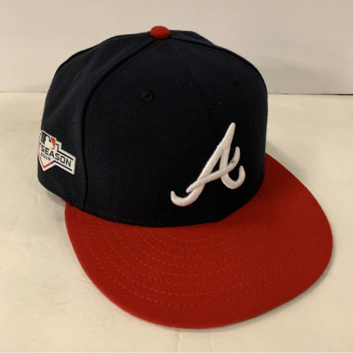 Photo of Dansby Swanson Game Used Postseason Cap - Worn 10/3/19 - Size 7 1/8