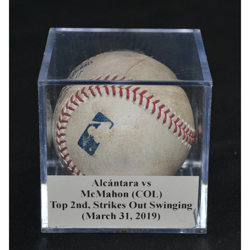Photo of Game-Used Baseball: Sandy Alcántara vs Ryan McMahon (COL), Top 2nd, Strikes Out Swinging (March 31, 2019)