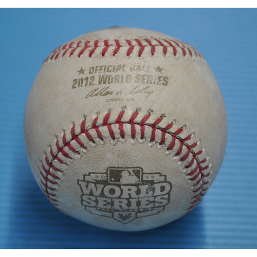 Photo of Game-Used Baseball - 2012 World Series - San Francisco Giants vs. Detroit Tigers - Batter - Buster Posey, Pitcher - Doug Fister, Bottom of 4, Foul Tip in Dirt - Game 2 - 10/25/2012