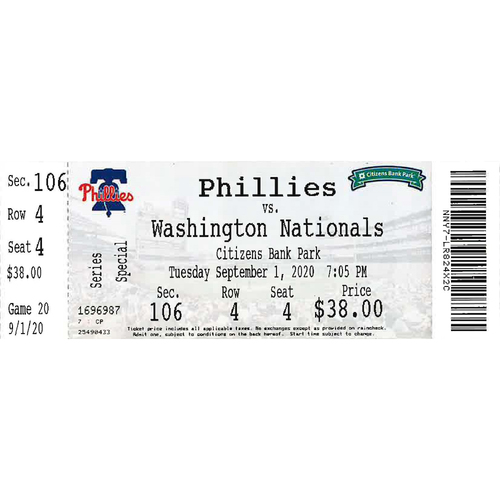 Photo of September 1, 2020 Ticket: Phillies vs. Nationals